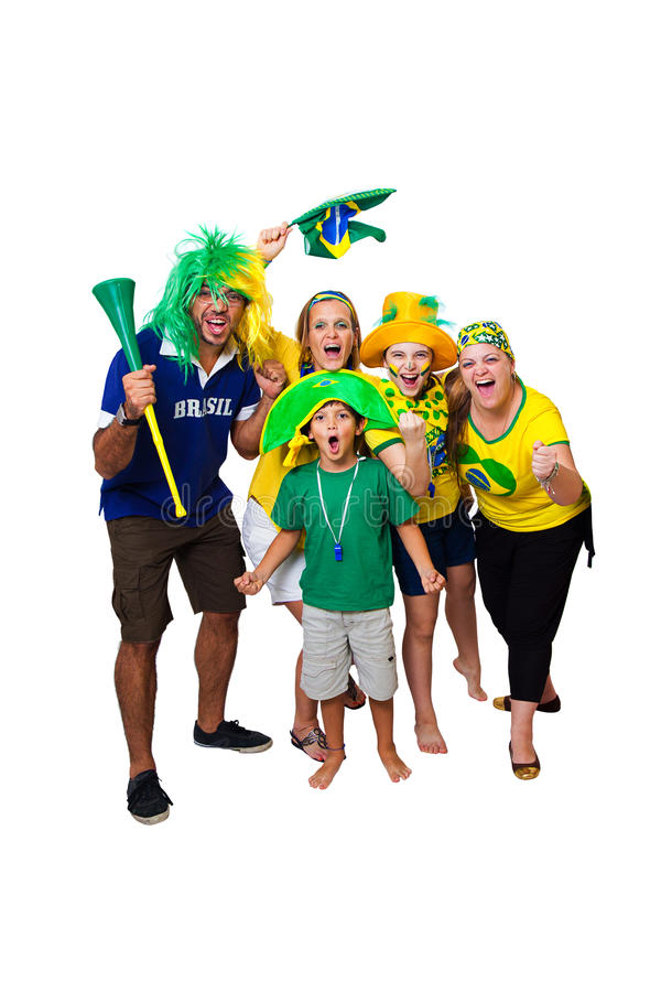 Brazilian family cheering on royalty free stock photos