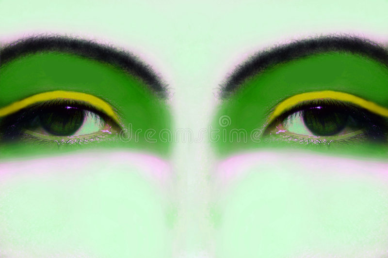 Brazilian Fantasy. Colorful fantasy eyes in brazilian green and yellow done in a mixed media collage. Enough copy space
