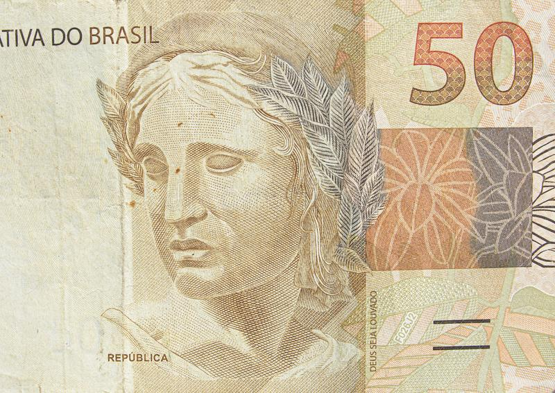Brazilian fifty real banknote stock images