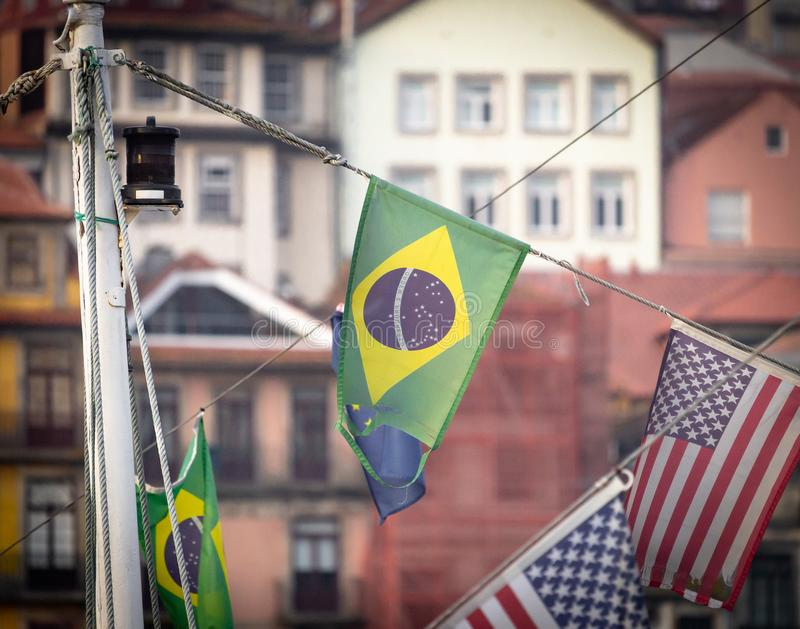 Brazilian Flag Amidst Other Flags stock photo