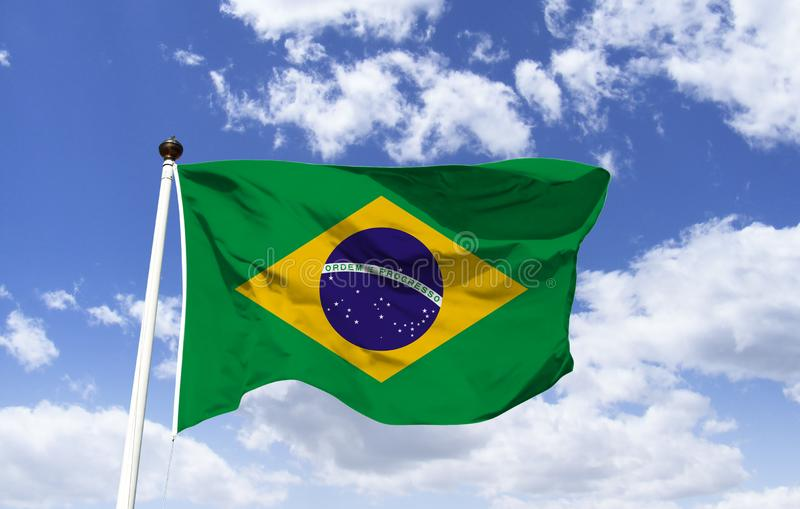 Brazilian flag: composed of a green base royalty free stock images