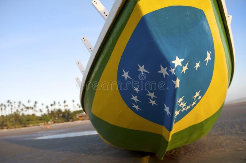 Brazilian Flag Fishing Boat on Brazil Beach stock photos