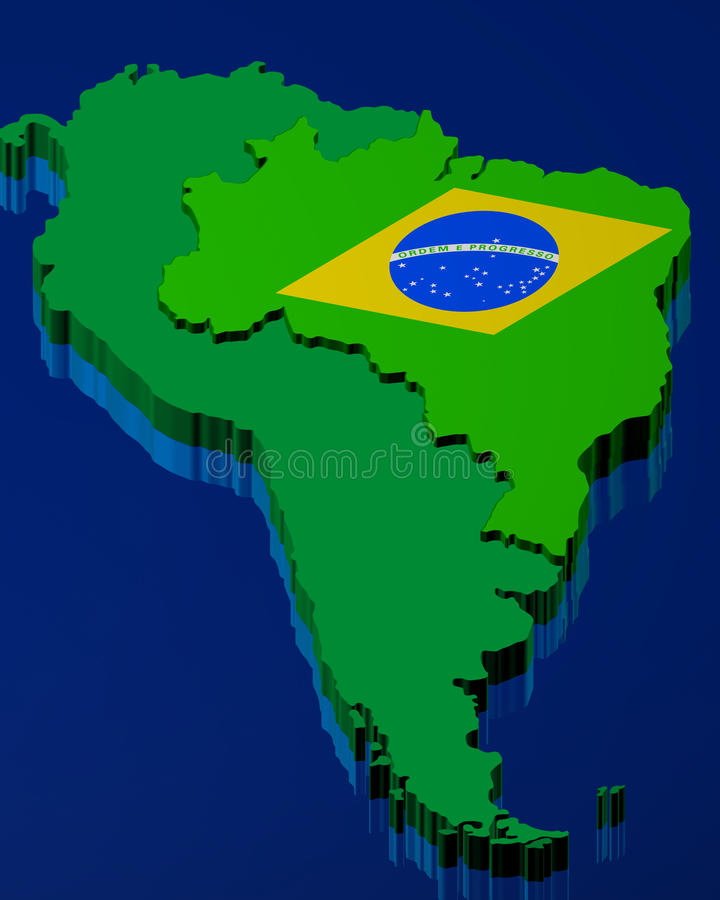 Brazilian flag over the map stock illustration