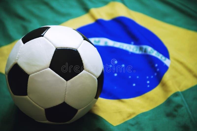 Brazilian Flag Soccer Ball Football stock image