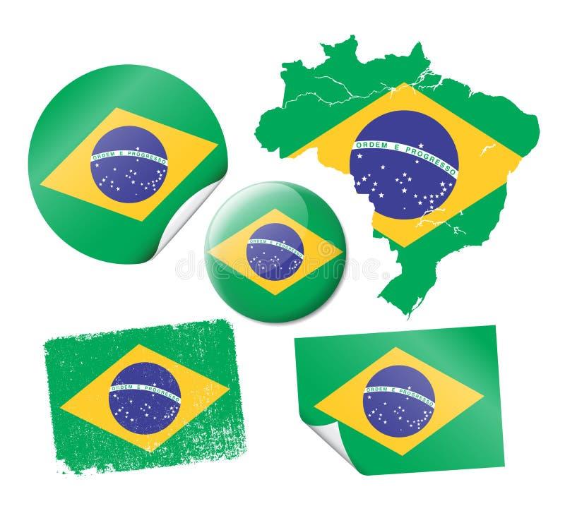 Brazilian flags. Vector illustration of different Brazilian flags (stickers, badge etc stock illustration