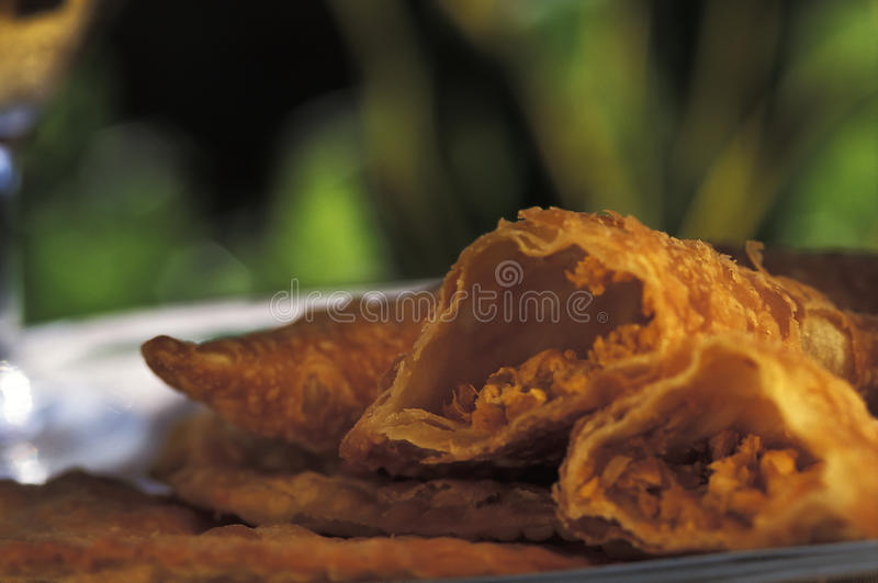 Brazilian food: pasteis. Brazilian food: Pastel (crispy meat pie), a common appetizer throughout Brazil. Pastel (or pasteis), are stuffed with either meat stock image
