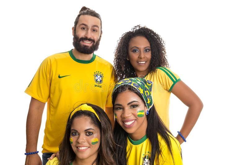 Brazilian group of fans celebrating on football match on white b royalty free stock photo