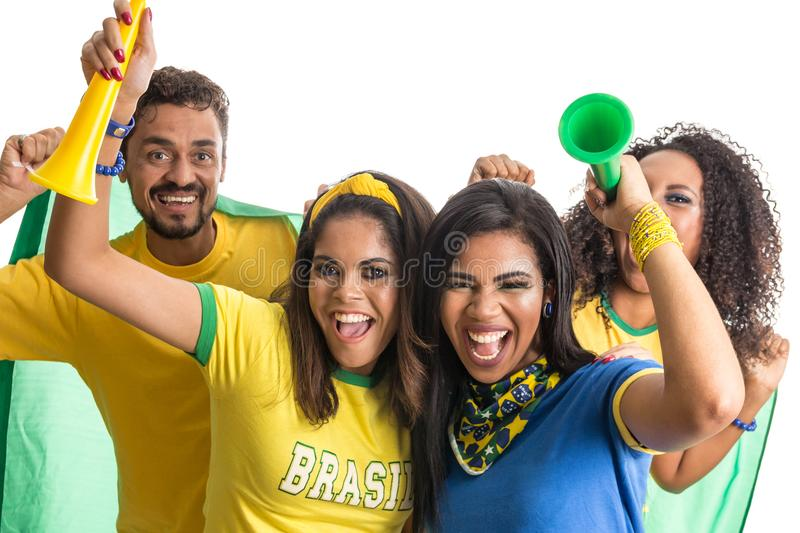 Brazilian group of fans celebrating on football match on white b royalty free stock photos