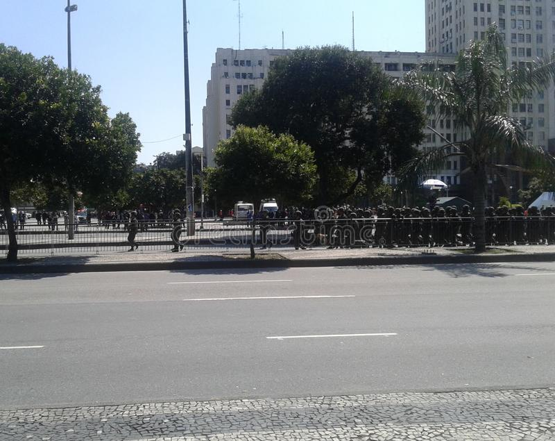 Air Force Men brazilian independence day parade. 09-07-2019 Brazilian independence day parade. Air force Men in Presidente Vargas avenue Rio de Janeiro Downtown stock image