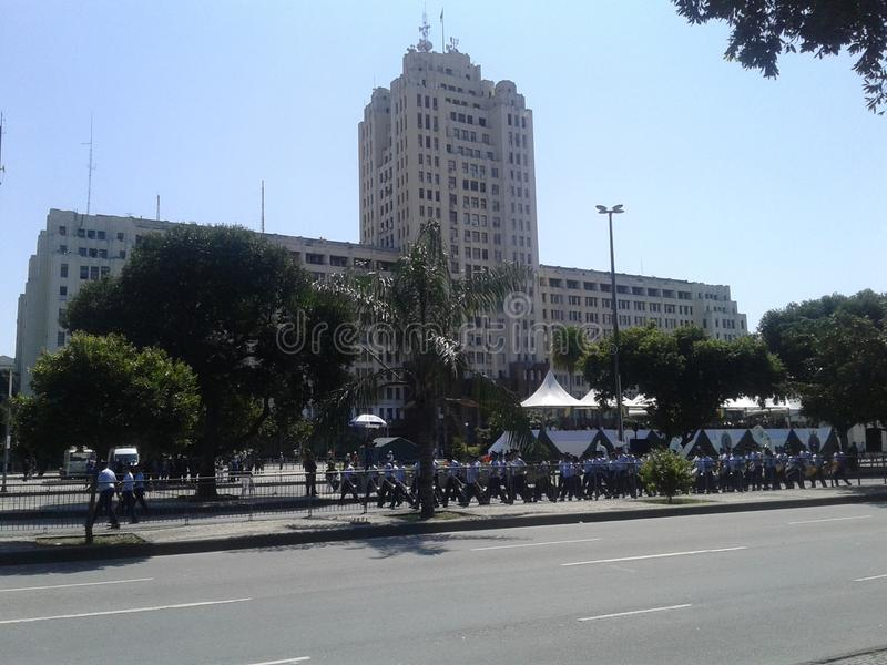 Air Force men brazilian independence day parade. 09-07-2019 Brazilian independence day parade. Air force men in Presidente Vargas avenue Rio de Janeiro Downtown stock images