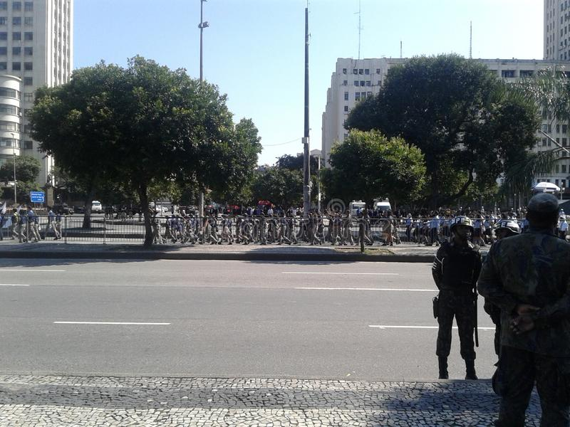 Guards and several military school students in brazilian independence day parade. 09-07-2019 Brazilian independence day parade. Guards several military school royalty free stock photography
