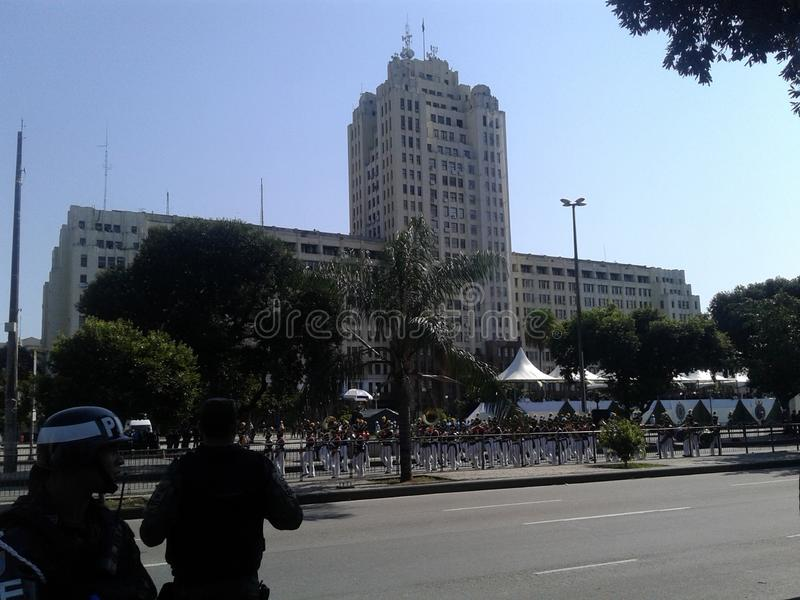 Army band, military building and guards in Presidente Vargas avenue in Rio de Janeiro Brazil. 09-07-2019 Brazilian independence day parade. Military building stock image
