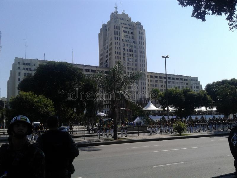 Army, military building and guards in Presidente Vargas avenue in Rio de Janeiro Brazil. 09-07-2019 Brazilian independence day parade. Military building, guards royalty free stock images