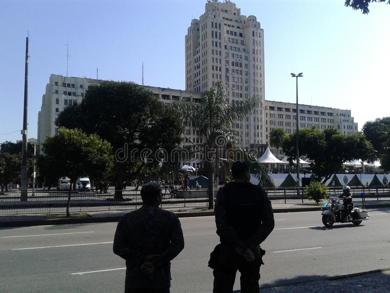 Military security guards and Motocycle guard picture. Brazilian independence day parade. 09-07-2019 Brazilian independence day parade. Military security guards royalty free stock photography