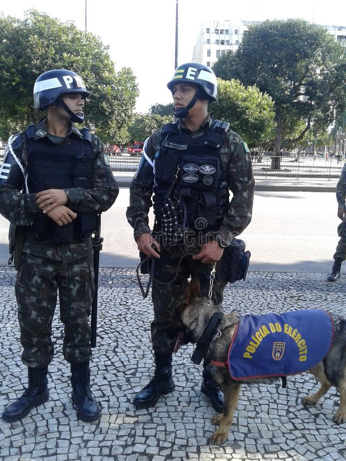 Military security guards and trained dog picture. Brazilian independence day parade. 09-07-2019 Brazilian independence day parade. Military security guards and stock photography