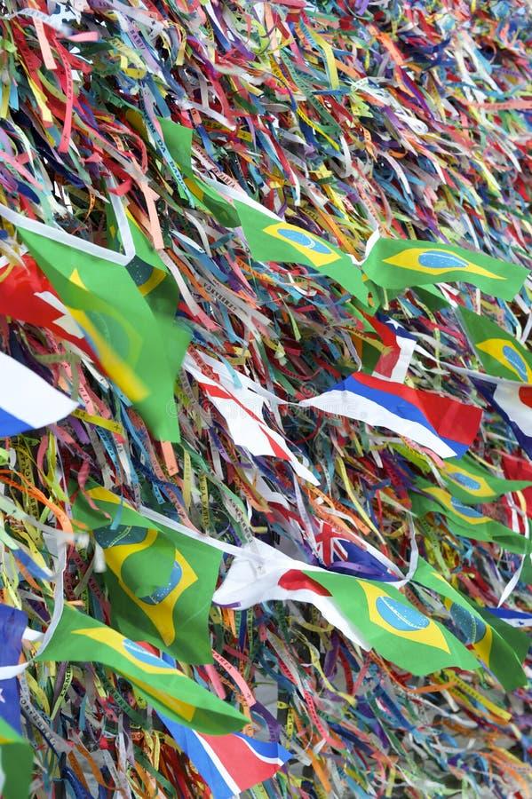 Brazilian and International Flags Wish Ribbons Bonfim Salvador Bahia stock images