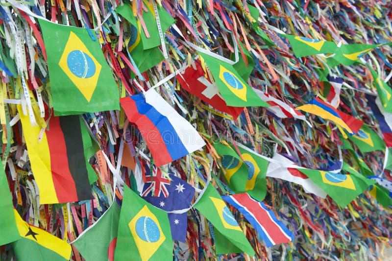 Brazilian and International Flags Wish Ribbons Bonfim Salvador Bahia royalty free stock images