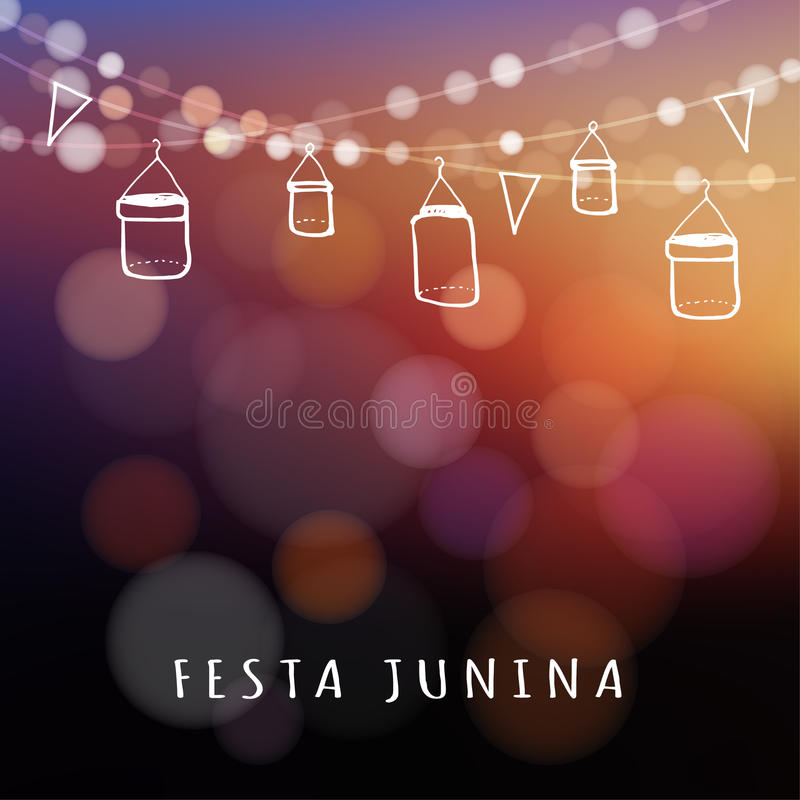 Brazilian june party, midsummer celebration, summer garden party, royalty free illustration