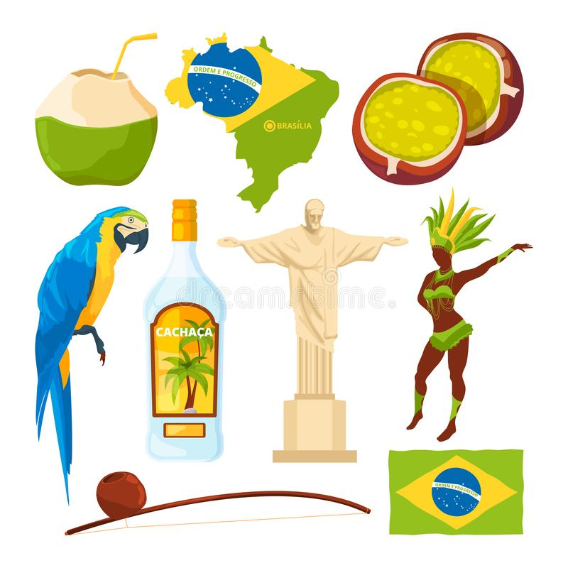 Brazilian Landmarks And Different Cultural Symbols Stock Vector
