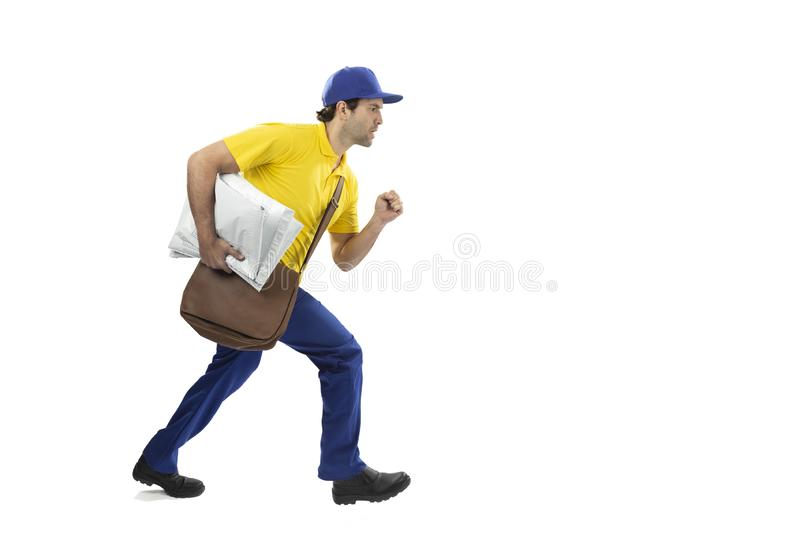 Brazilian mailman on a white background. Brazilian mailman running with a package on a white background. copy space royalty free stock images