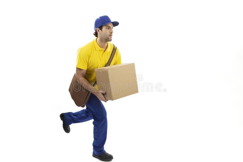 Brazilian mailman on a white background. Brazilian mailman running with a package on a white background. copy space stock photos