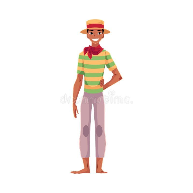 Brazilian man in straw hat, traditional Festa Junina party costume stock illustration