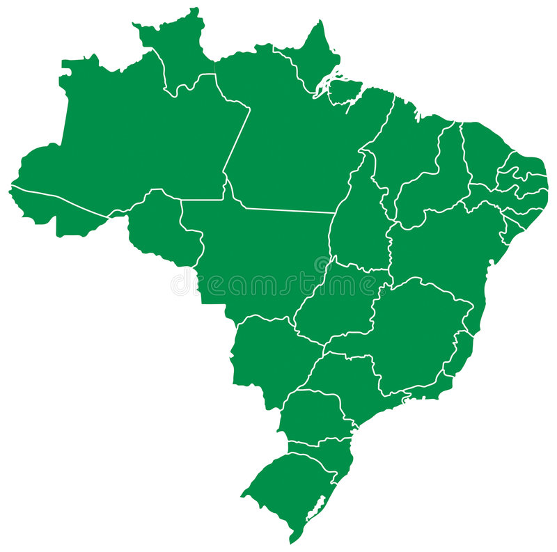 Brazilian map. With states green splited 27 illustration