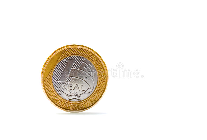 brazilian monety jeden real pojedynczy zdjęcie stock