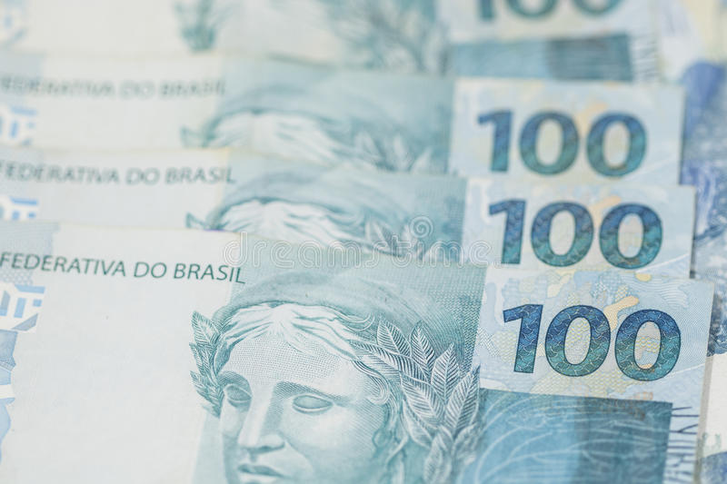 Brazilian money background. Bills called Real. stock images