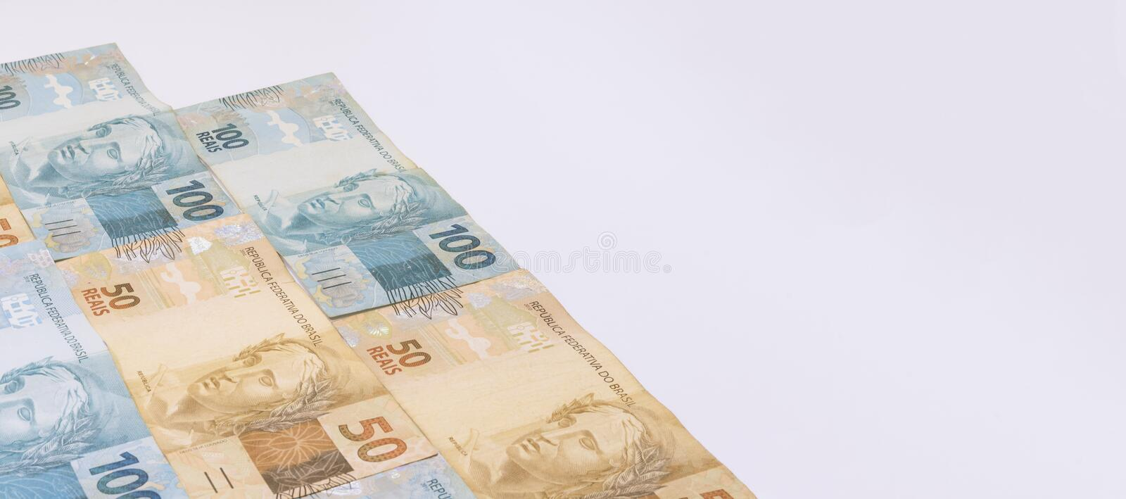 Brazilian money with blank space. Bills called Real, different values. royalty free stock photo