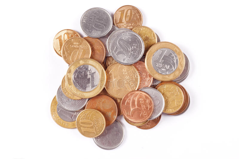 Brazilian money coins. Some scattered brazilian real coins royalty free stock image