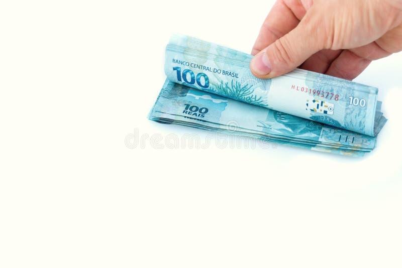 Brazilian money, denominations of 100 reais royalty free stock photos