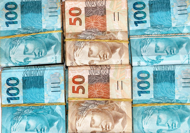 Brazilian money packages royalty free stock photo