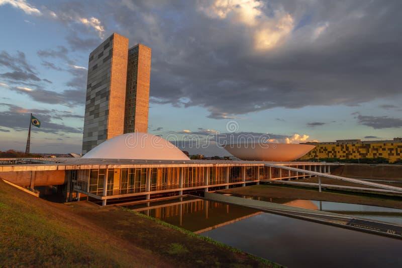 Brazilian National Congress at sunset - Brasilia, Distrito Federal, Brazil stock photo