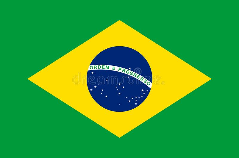 Brazilian national flag in accurate colors, official flag of brazil in exact colors. Real colors vector illustration