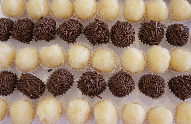 Brazilian party candy as know as brigadeiro. Made with sweet condensed milk and cocoa powder royalty free stock photos