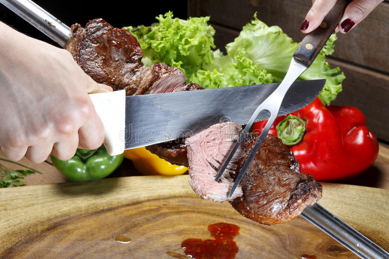 Brazilian Picanha. Juicy brazilian Picanha BBQ on a skewer stock photography