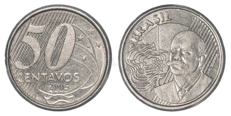 50 Brazilian real centavos coin stock images