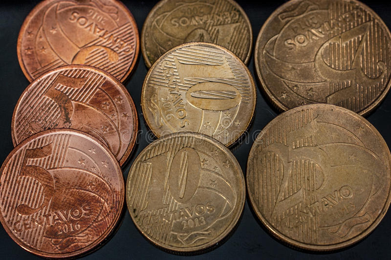 Brazilian Real cents coins closeup stock photo