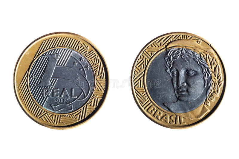 Brazilian real coin royalty free stock image