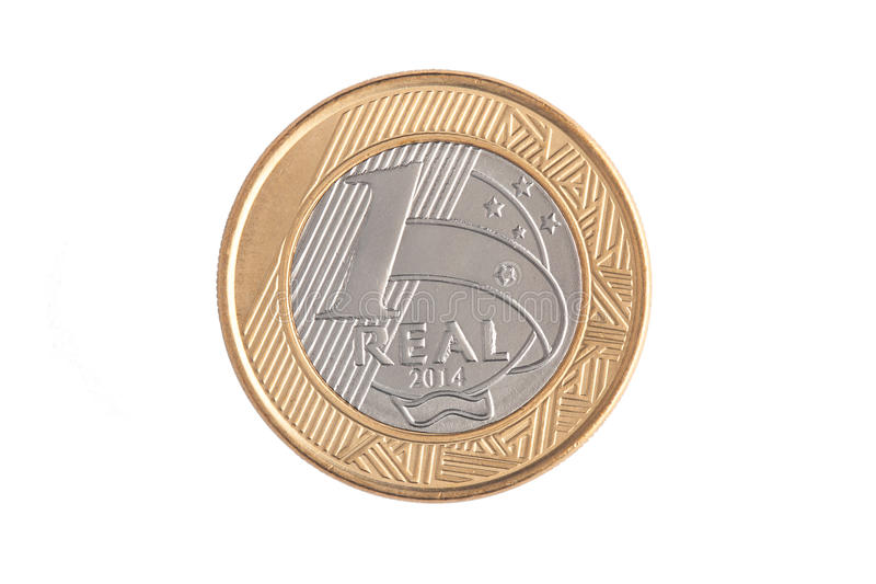 Brazilian 1 Real coin stock images