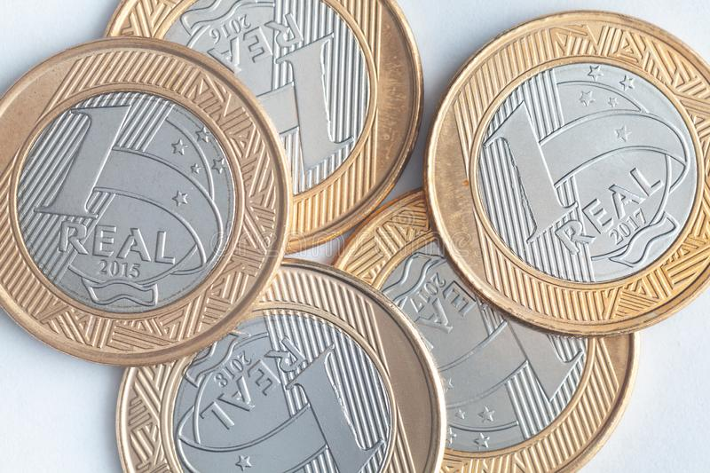 Brazilian 1 Real coins close details royalty free stock photography