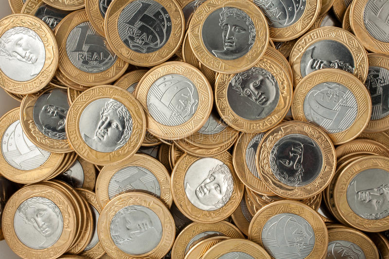 Brazilian 1 Real coins. Lot of Brazilian 1 Real coins stock photography