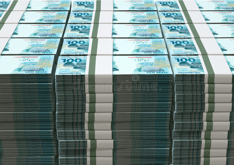 Brazilian real notes stock photography