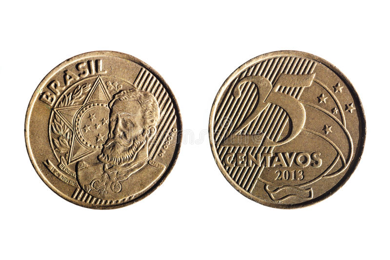 Brazilian real twenty five cents coin royalty free stock images