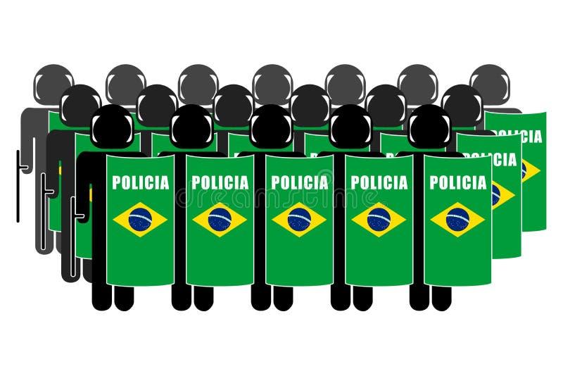 Brazilian Riot Police. Silhouette of Brazilian Anti-Riot Police stock illustration