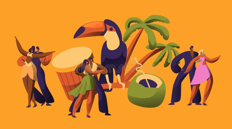 Brazilian Samba Carnival Dancer Latino Character. Bikini Woman Dance Tropical Cuban Salsa. Latin Man in Retro Costume royalty free illustration