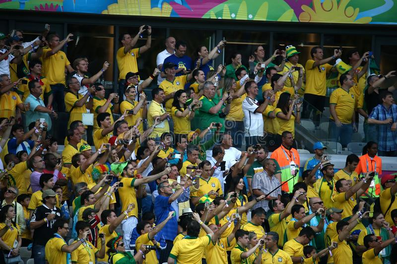 Brazilian soccer fans royalty free stock images