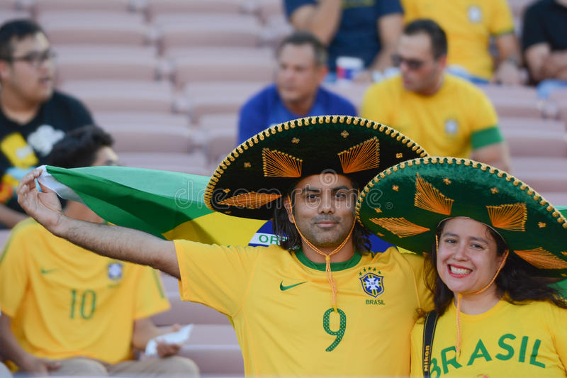 Brazilian soccer fans during Copa America Centenario royalty free stock images
