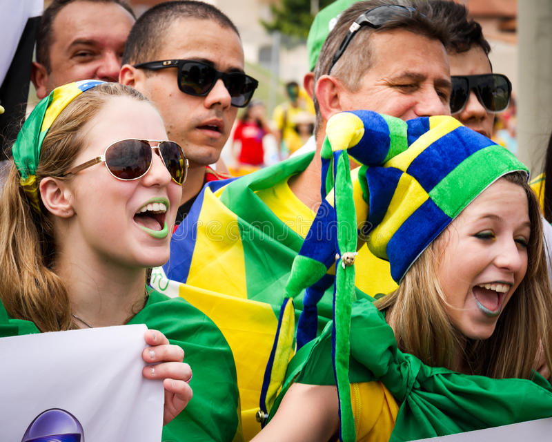 Brazilian soccer fans royalty free stock photos